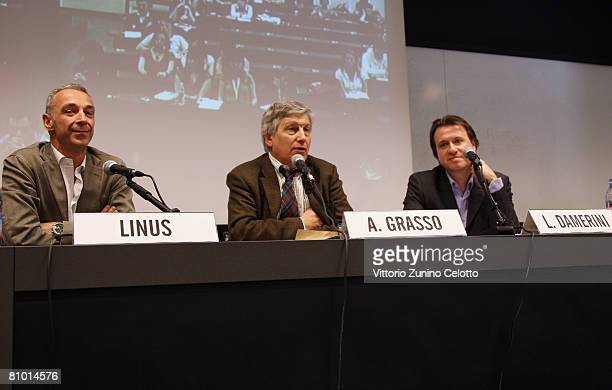 Linus Aldo Grasso and Leopoldo Damerini attend a press conference during the 2008 Telefilm Festival held at Cattolica del Sacro Cuore University on...