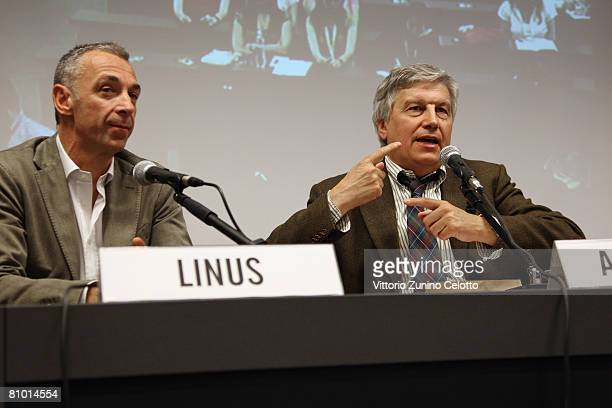 Linus and television critic Aldo Grasso attend a press conference during the 2008 Telefilm Festival held at Cattolica del Sacro Cuore University on...