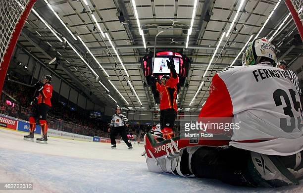 Linus Fernstrom goaltender of Gothenburg looks dejected during the Champions Hockey League final match at Coop Norrbotten Arena on February 3 2015 in...