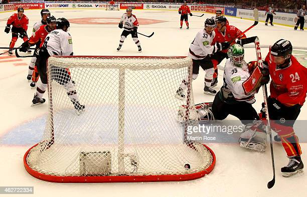Linus Fernstrom goaltender of Gothenburg tends net against the Lulea Hockey during the Champions Hockey League final match at Coop Norrbotten Arena...