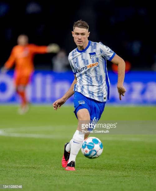Linus Gechter of Hertha in action during the Bundesliga match between Hertha BSC and SpVgg Greuther Fürth at Olympiastadion on September 17, 2021 in...