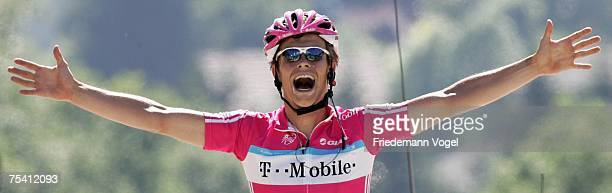 Linus Gerdemann of Germany and Team T-Mobile celebrates as he crosses the line to win the Stage Seven of the Tour de France between Bourg-en-Bresse...