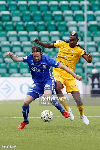 Linus Hallenius of GIF Sundsvall and Aboubakar Keita of Halmstad BK during the Allsvenskan match between GIF Sundsvall and Halmstad BK at...