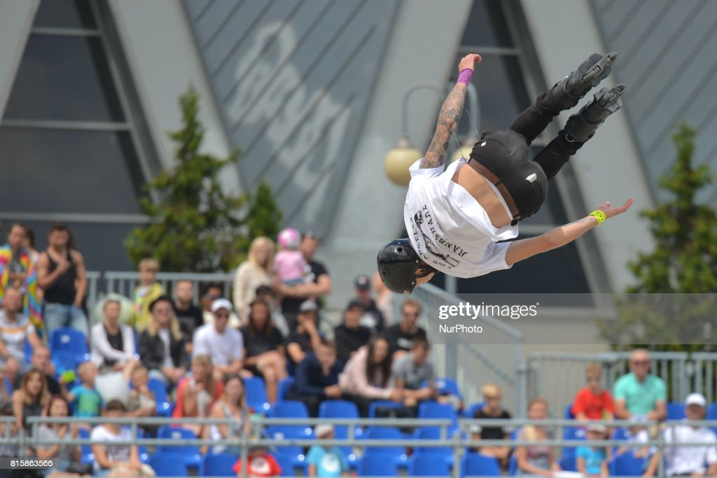 Linus Hansen during the final of Rollerblading competition, on the final day of Carpatia Extreme Festival 2017, in Rzeszow. On Sunday, July 16, 2017, in Rzeszow, Poland.