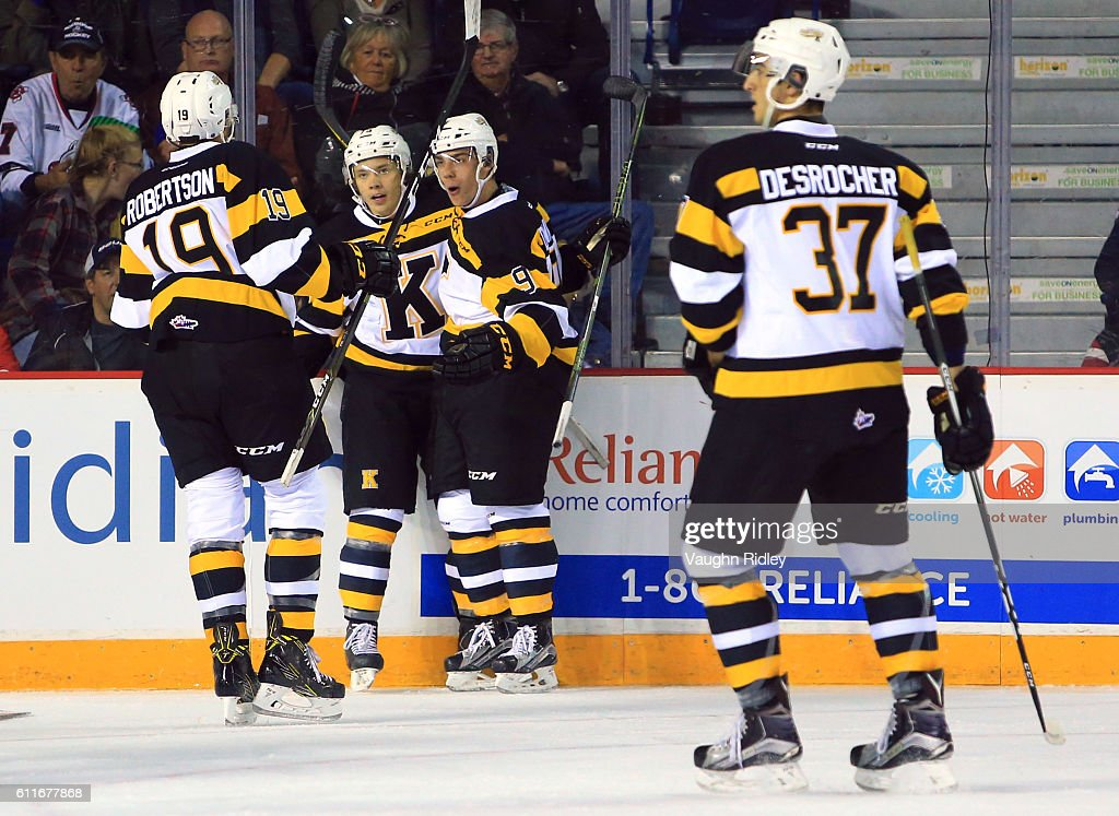 Linus Nyman #75 of the Kingston Frontenacs celebrates a goal with teammates during the first period of an OHL game against the Niagara IceDogs at the Meridian Centre on September 30, 2016 in St Catharines, Ontario, Canada.