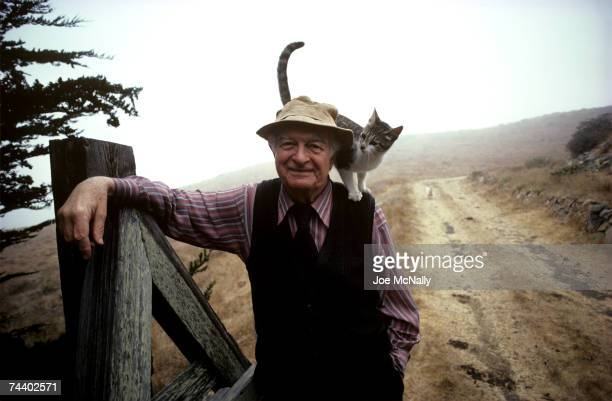 Linus Pauling a chemist biologist and twotime winner of the nobel prize poses for a portrait with a cat on his shoulder in September of 1982 at a...