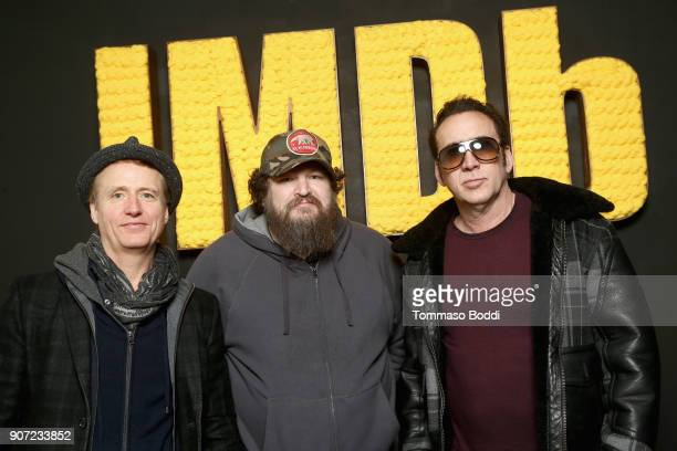 Linus Roache Panos Cosmatos and Nicolas Cage from 'Mandy' attend The IMDb Studio at The Sundance Film Festival on January 19 2018 in Park City Utah