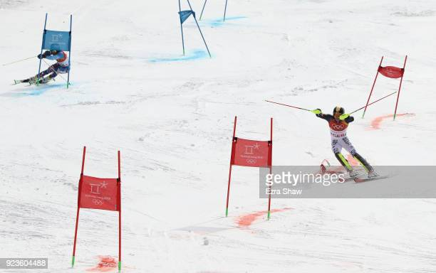 Linus Strasser of Germany and Andreas Zampa of Slovakia compete during the Alpine Team Event 1/8 Finals on day 15 of the PyeongChang 2018 Winter...