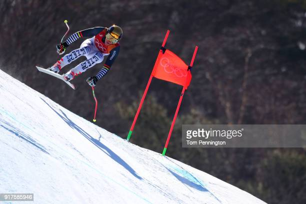 Linus Strasser of Germany competes during the Men's Alpine Combined Downhill on day four of the PyeongChang 2018 Winter Olympic Games at Jeongseon...