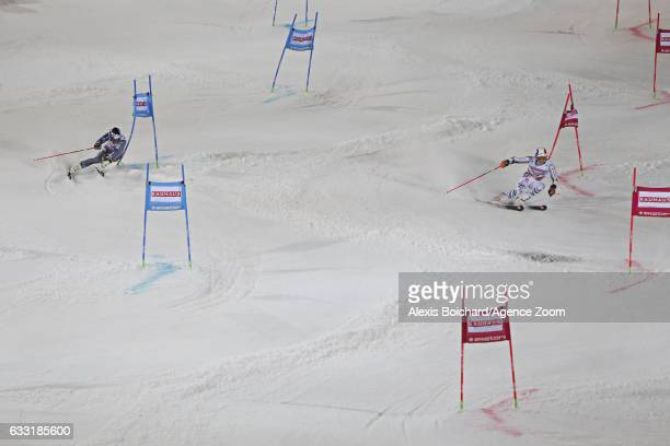 Linus Strasser of Germany takes 1st place Alexis Pinturault of France takes 2nd place during the Audi FIS Alpine Ski World Cup Men's and Women's...