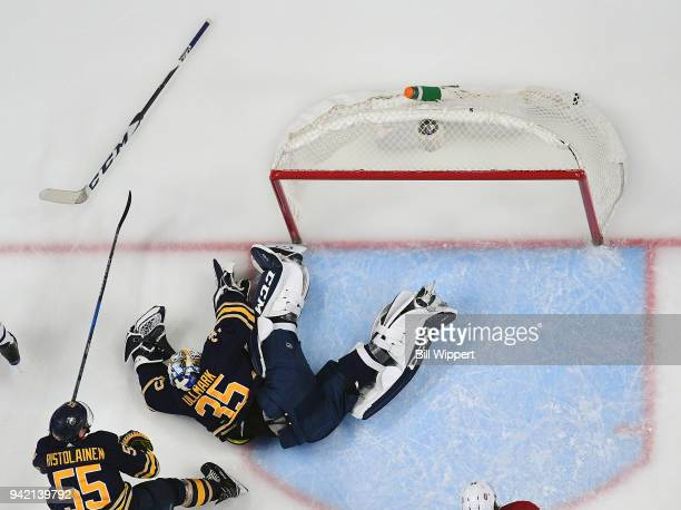 Linus Ullmark loses his stick making a save during an NHL game against the Montreal Canadiens on March 23 2018 at KeyBank Center in Buffalo New York...