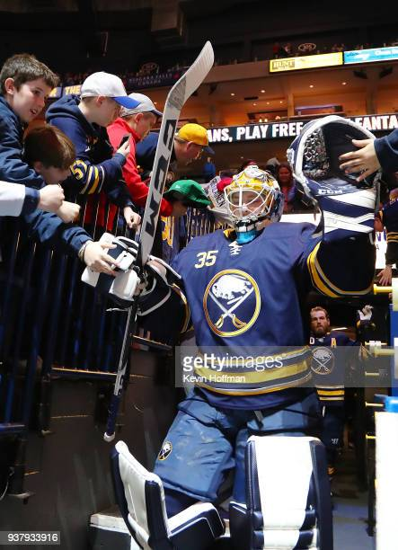 Linus Ullmark of the Buffalo Sabres before the game against the Montreal Canadiens at KeyBank Center on March 23 2018 in Buffalo New York Linus...