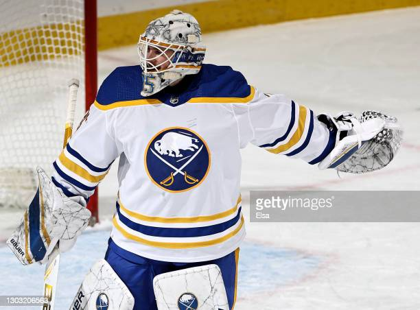 Linus Ullmark of the Buffalo Sabres celebrates the win over the New Jersey Devils at Prudential Center on February 20, 2021 in Newark, New Jersey.The...