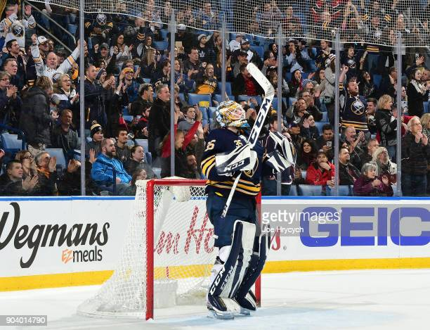 Linus Ullmark of the Buffalo Sabres celebrates their 31 victory against the Columbus Blue Jackets in an NHL game on January 11 2018 at KeyBank Center...