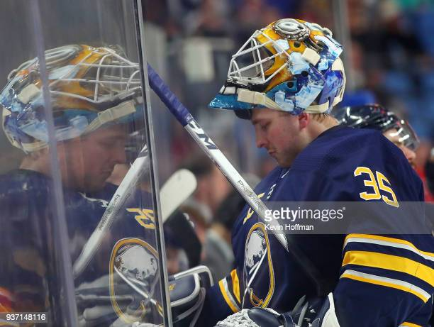 Linus Ullmark of the Buffalo Sabres during the first period against the Montreal Canadiens at KeyBank Center on March 23 2018 in Buffalo New York