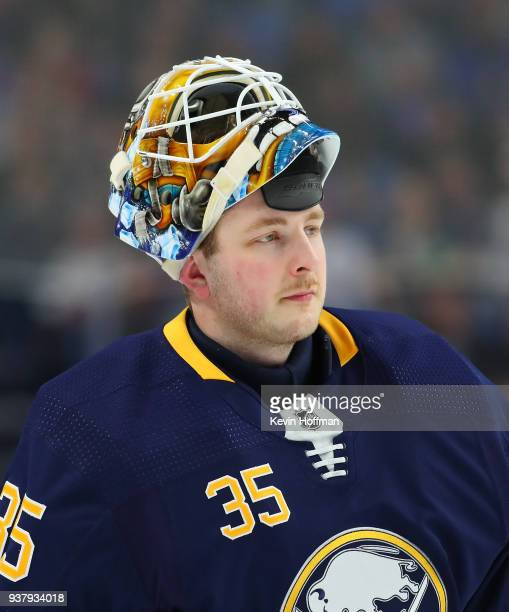 Linus Ullmark of the Buffalo Sabres during the game against the Montreal Canadiens at KeyBank Center on March 23 2018 in Buffalo New York Linus...
