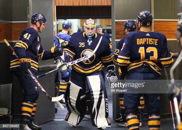 Linus Ullmark of the Buffalo Sabres heads to the ice before an NHL game against the Montreal Canadiens on March 23 2018 at KeyBank Center in Buffalo...