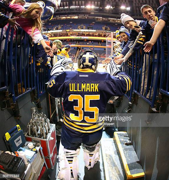 Linus Ullmark of the Buffalo Sabres heads to the ice for warmups before playing the Detroit Red Wings in an NHL game on January 2 2016 at the First...