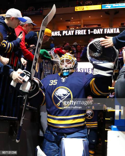 Linus Ullmark of the Buffalo Sabres heads to the ice to warm up before the game against the Montreal Canadiens at KeyBank Center on March 23 2018 in...