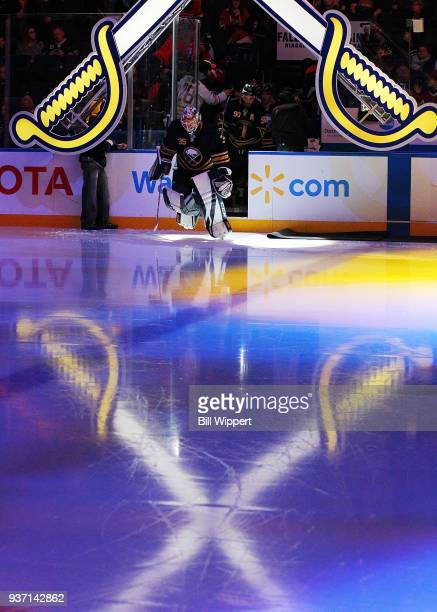 Linus Ullmark of the Buffalo Sabres leads his team onto the ice prior to an NHL game against the Montreal Canadiens on March 23 2018 at KeyBank...
