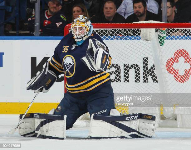Linus Ullmark of the Buffalo Sabres makes a glove save against the Columbus Blue Jackets during an NHL game on January 11 2018 at KeyBank Center in...