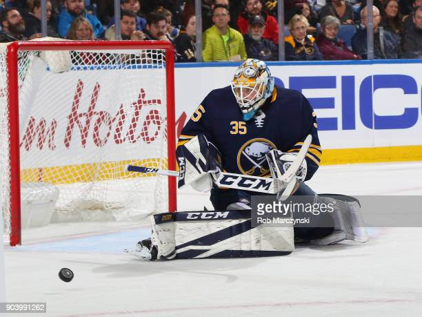 Linus Ullmark of the Buffalo Sabres makes a save against the Columbus Blue Jackets during an NHL game on January 11 2018 at KeyBank Center in Buffalo...