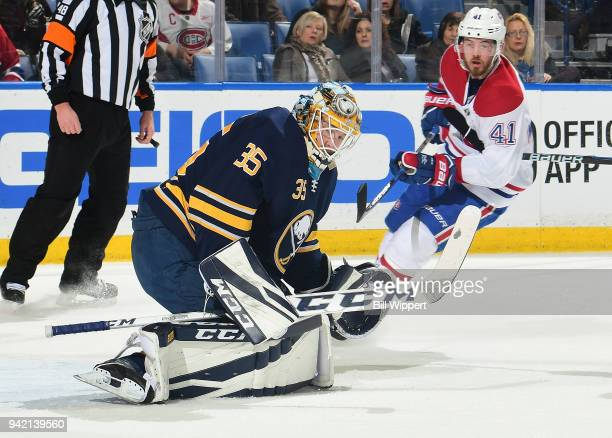 Linus Ullmark of the Buffalo Sabres makes a save during an NHL game against the Montreal Canadiens on March 23 2018 at KeyBank Center in Buffalo New...