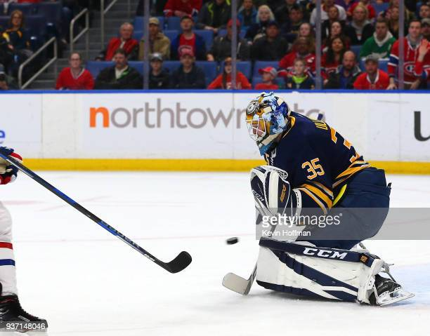 Linus Ullmark of the Buffalo Sabres makes the save against the Montreal Canadiens during the first period at KeyBank Center on March 23 2018 in...