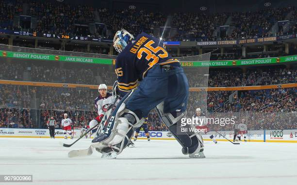 Linus Ullmark of the Buffalo Sabres passes the puck during an NHL game against the Columbus Blue Jackets on January 11 2018 at KeyBank Center in...