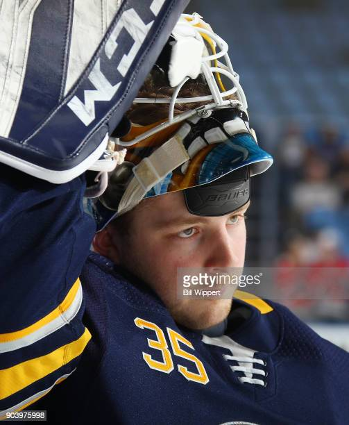 Linus Ullmark of the Buffalo Sabres prepares for an NHL game against the Columbus Blue Jackets on January 11 2018 at KeyBank Center in Buffalo New...