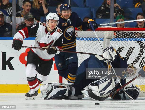 Linus Ullmark of the Buffalo Sabres scrambles to make a save during an NHL game against the Arizona Coyotes on March 21 2018 at KeyBank Center in...