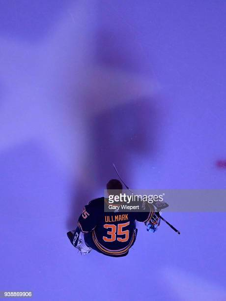 Linus Ullmark of the Buffalo Sabres stands for the anthems before an NHL game against the Nashville Predators on March 19 2018 at KeyBank Center in...