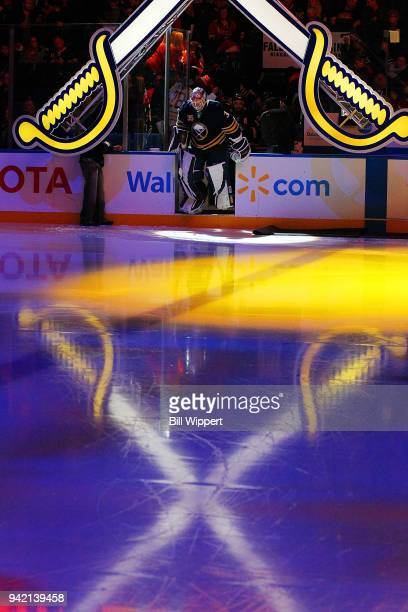 Linus Ullmark of the Buffalo Sabres steps on the ice before an NHL game against the Montreal Canadiens on March 23 2018 at KeyBank Center in Buffalo...