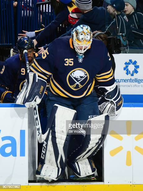 Linus Ullmark of the Buffalo Sabres steps on to the ice against the Columbus Blue Jackets during an NHL game on January 11 2018 at KeyBank Center in...