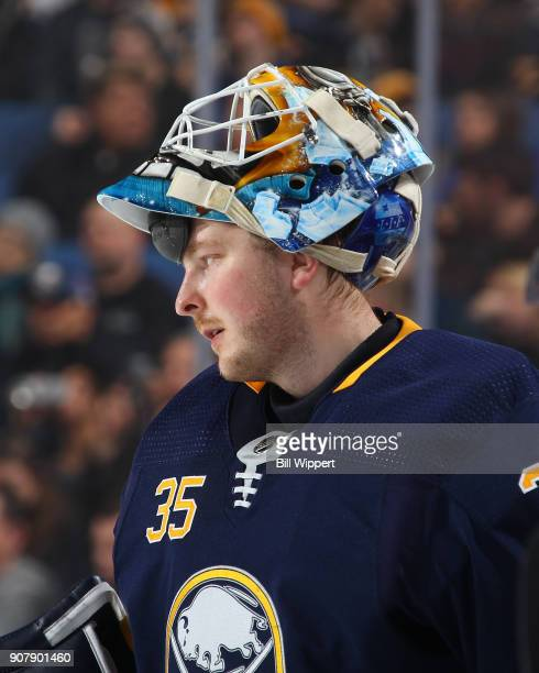 Linus Ullmark of the Buffalo Sabres takes a break against the Columbus Blue Jackets during an NHL game on January 11 2018 at KeyBank Center in...