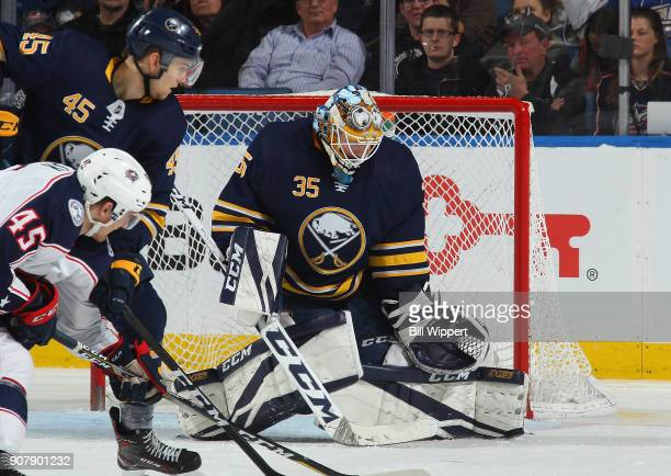 Linus Ullmark of the Buffalo Sabres tends goal against the Columbus Blue Jackets during an NHL game on January 11 2018 at KeyBank Center in Buffalo...
