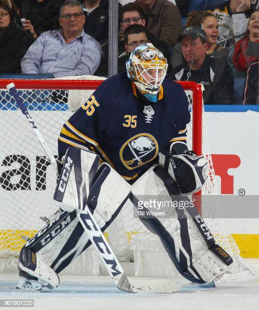 Linus Ullmark of the Buffalo Sabres tends goal during an NHL game Columbus Blue Jackets on January 11 2018 at KeyBank Center in Buffalo New York