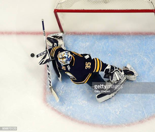 Linus Ullmark of the Buffalo Sabres tends goal during an NHL game against the Nashville Predators on March 19 2018 at KeyBank Center in Buffalo New...
