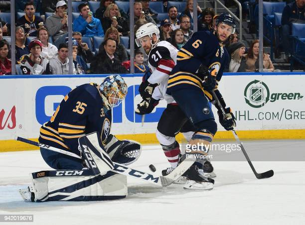 Linus Ullmark of the Buffalo Sabres tends goal during an NHL game against the Arizona Coyotes on March 21 2018 at KeyBank Center in Buffalo New York...