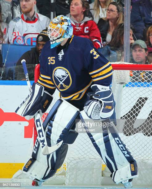 Linus Ullmark of the Buffalo Sabres tends goal during an NHL game against the Montreal Canadiens on March 23 2018 at KeyBank Center in Buffalo New...