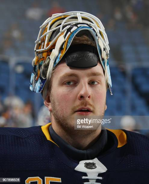 Linus Ullmark of the Buffalo Sabres warms up before an NHL game against the Columbus Blue Jackets on January 11 2018 at KeyBank Center in Buffalo New...