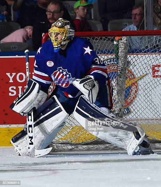 Linus Ullmark of the Rochester Americans prepares for a shot against the Toronto Marlies during AHL game action on April 17 at Ricoh Coliseum in...