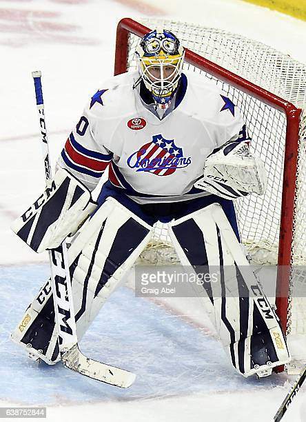 Linus Ullmark of the Rochester Americans prepares for a shot against the Toronto Marlies during AHL Game action on January 14 2017 at Ricoh Coliseum...