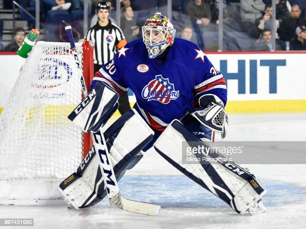 Linus Ullmark of the Rochester Americans protects his net against the Laval Rocket during the AHL game at Place Bell on October 25 2017 in Laval...