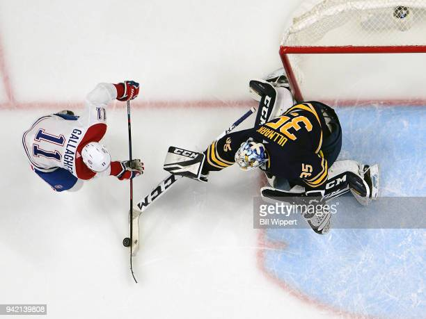 Linus Ullmark tends goal during an NHL game against Brendan Gallagher of the Montreal Canadiens on March 23 2018 at KeyBank Center in Buffalo New...