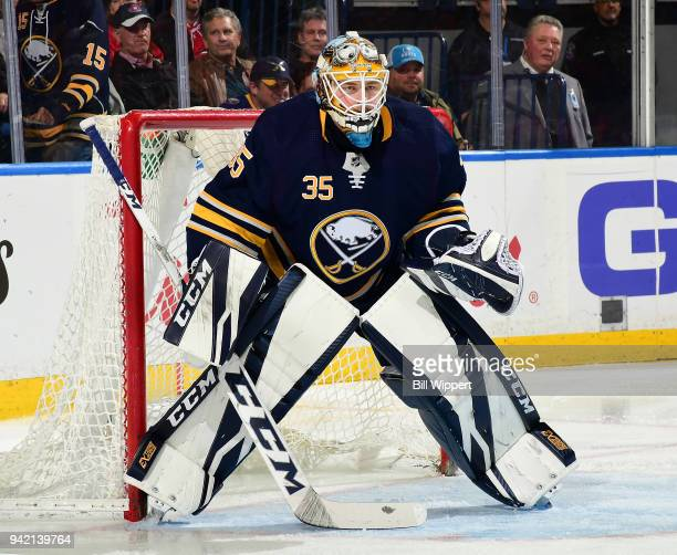 Linus Ullmark tends goal during an NHL game against the Montreal Canadiens on March 23 2018 at KeyBank Center in Buffalo New York Linus Ullmark