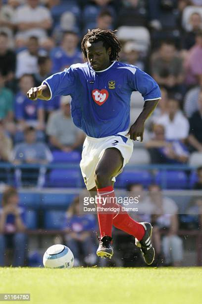 Linvoy Primus of Portsmouth in action during the preseason friendly match between Portsmouth and Panathinaikos at Fratton Park in Portsmouth on...