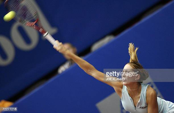Nicole Vaidisova of the Czech republic serves to Jelena Jankovic of Serbia during their quarter-final match of the WTA Linz tournament 27 October...
