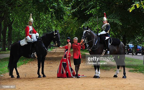 Linzi Stoppard and Angela Rippon promote charity fashion show 'Fashion For The Brave at Household Cavalry Barracks on September 6 2010 in London...