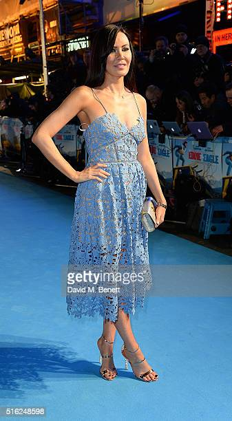 Linzi Stoppard attends the European Premiere of 'Eddie The Eagle' at Odeon Leicester Square on March 17 2016 in London England